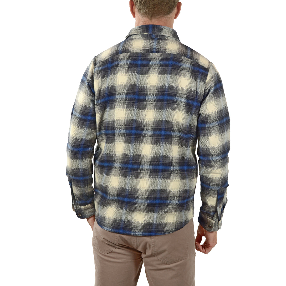 Back View Airotec® Performance Heavy Weight Df Shirt Jacket in Navy Apres Df Plaid