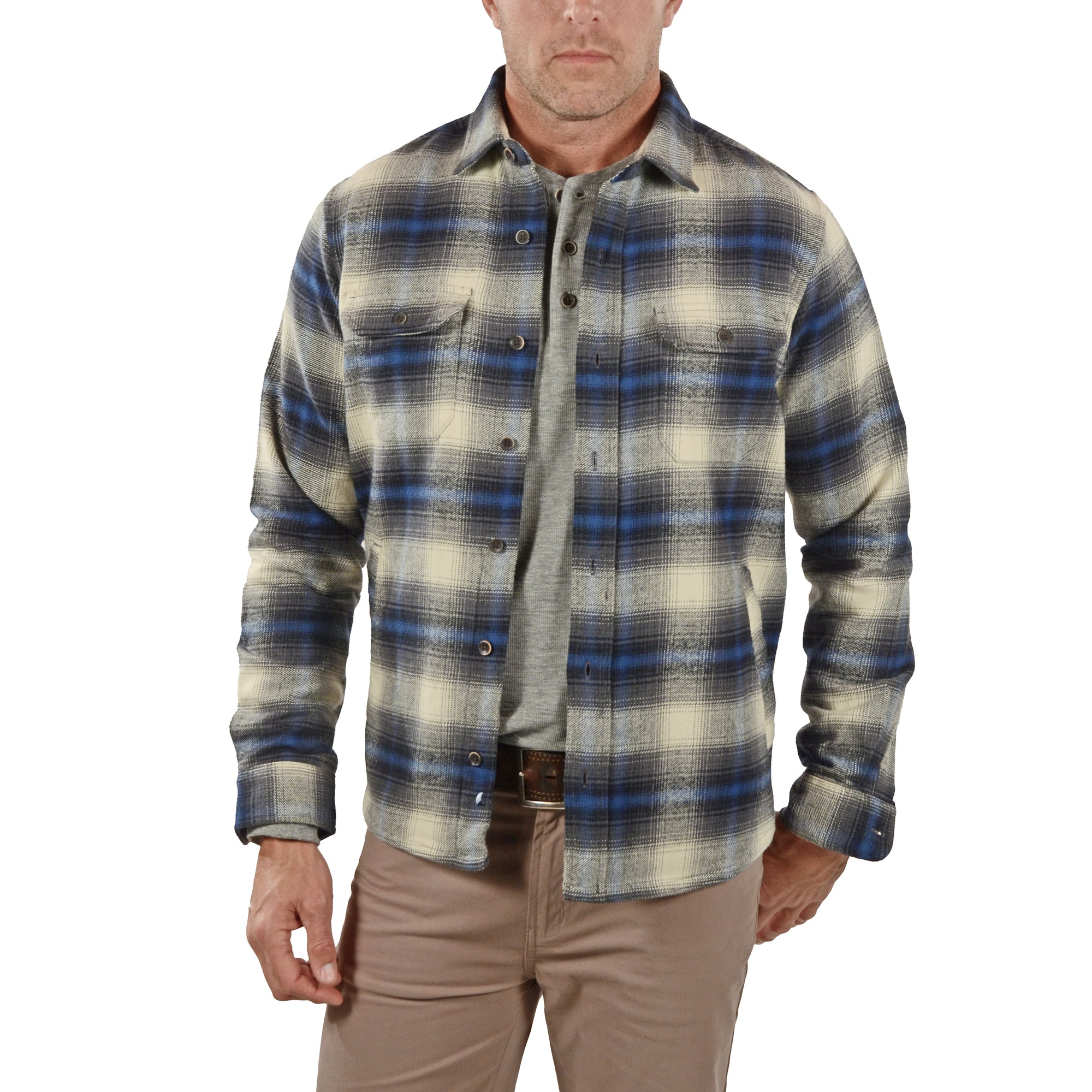 Front View Airotec® Performance Heavy Weight Df Shirt Jacket in Navy Apres Df Plaid