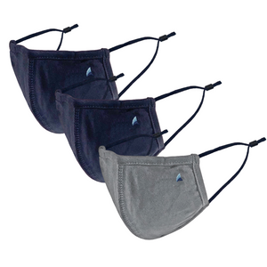 PURETEC COOL™ NANOFIBER FILTER  MASK (NAVY/GRAY FLANNEL 3-PACK)