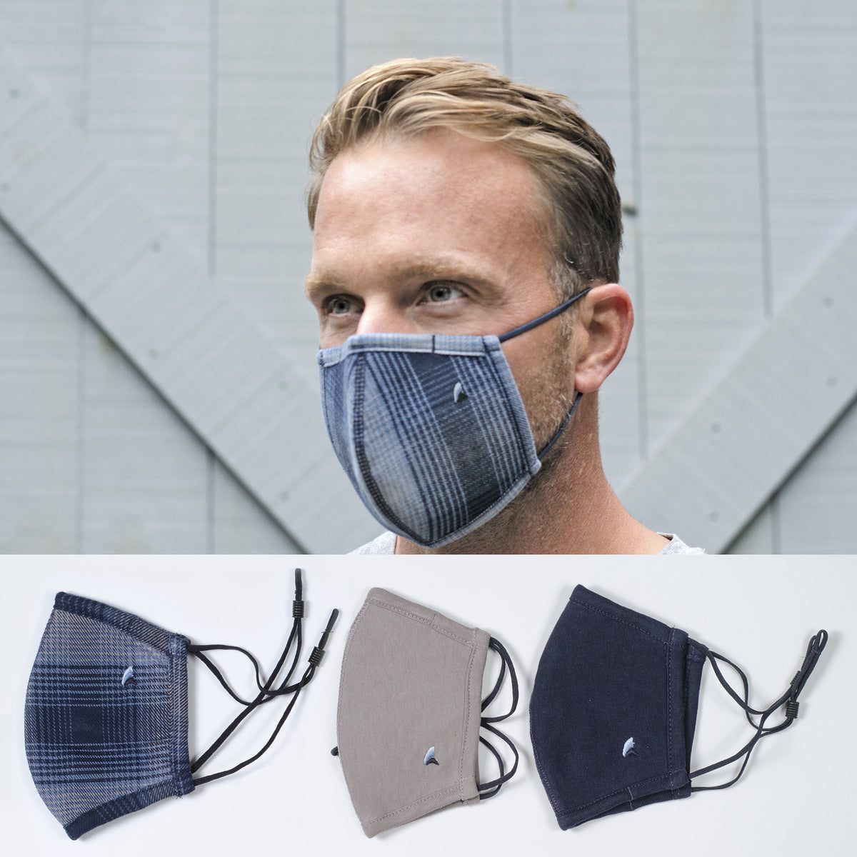Fabric Face Covering (Indigo Apres Plaid/Navy/Gray  3-Pack)
