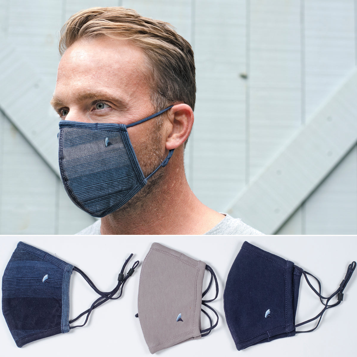 PUREtec cool® 3-Layer High Filtration Mask with Nanofiber Fiber Filter- 3 pack in Indigo Desert Stripe/Navy/Gray
