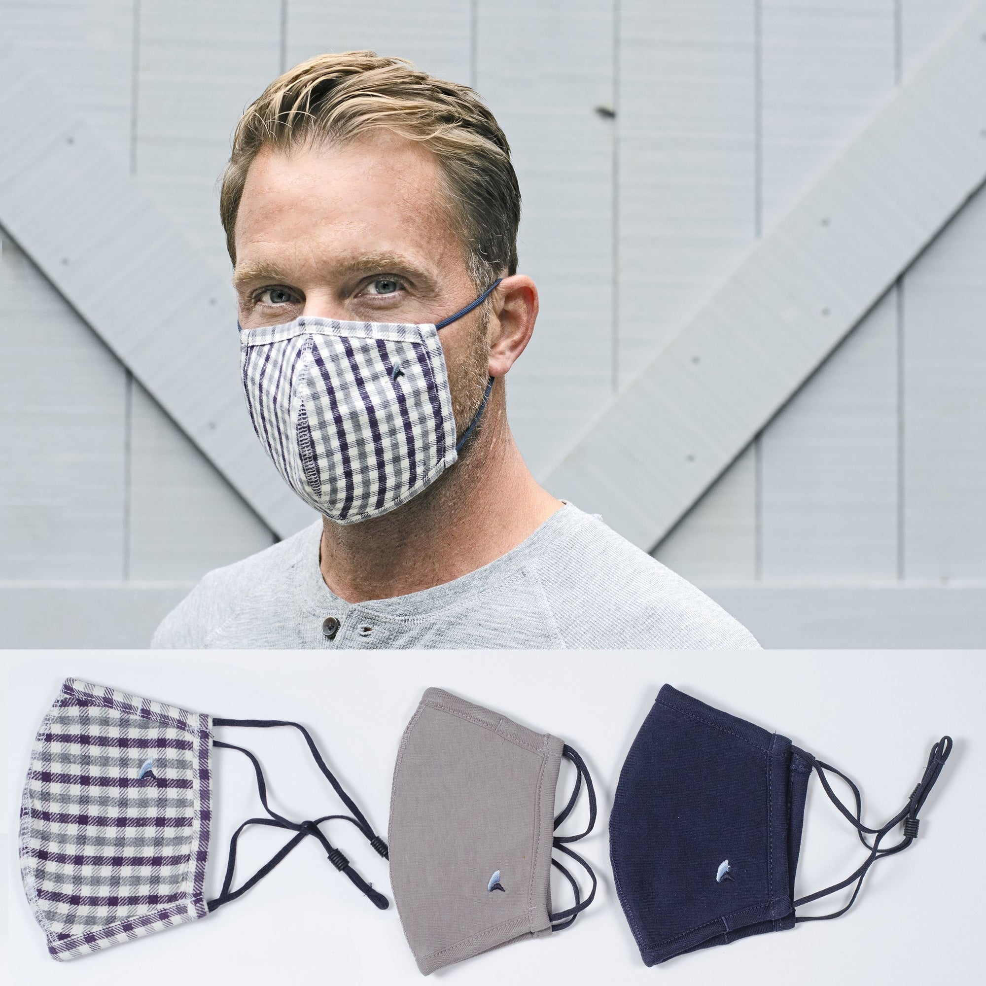 Fabric Face Covering(Nightshade Tricolor Gingham/Navy/Grey  3-Pack)