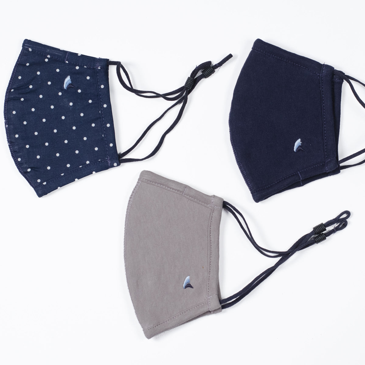 Fabric Face Covering(Navy Blazer Mini Dots/Navy/Gray 3-Pack) 2