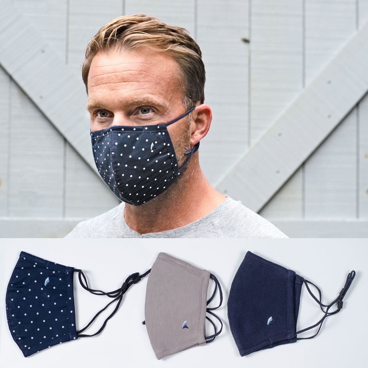 PUREtec cool® 3-Layer High Filtration Mask with Nanofiber Fiber Filter- 3 pack(Navy Blazer Mini Dots/Navy/Gray)