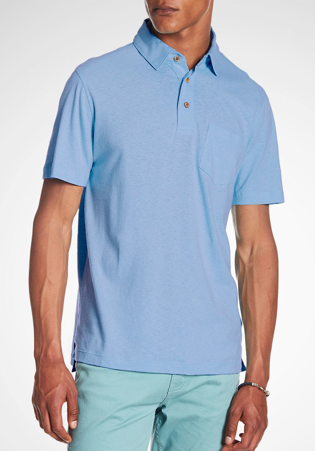 Front View Airotec Stretch Slub Jersey Polo in Serenity