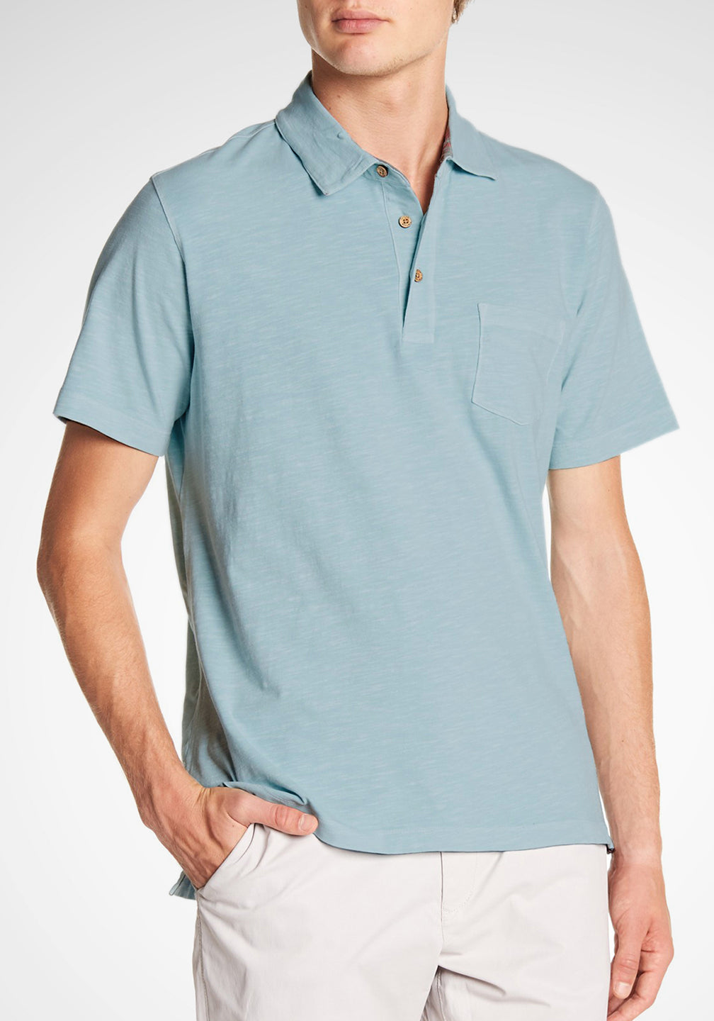 Front View Airotec Stretch Slub Jersey Polo in Sterling Blue