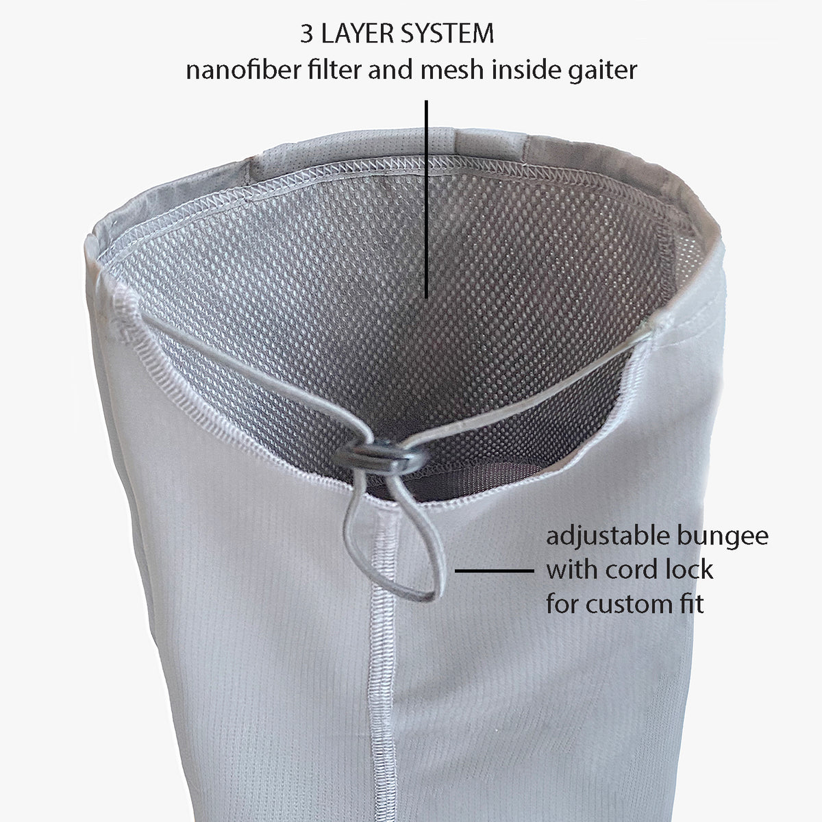 Puretec cool® Antimicrobial Neck Gaiter with Nanofiber Filter (Gray Flannel/Connecticut)