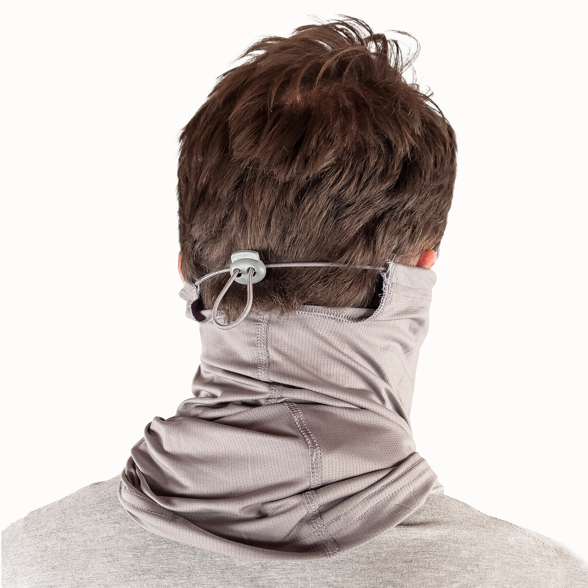 Puretec cool® Antimicrobial Neck Gaiter with Nanofiber Filter in Gray Flannel Legend Stripe