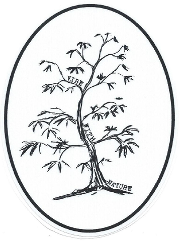 Vinyl Decal Sticker: Vibe With Nature Tree Black on White Oval