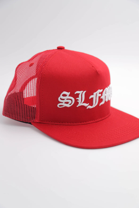 SLFMD Old English Trucker Snapback - Red