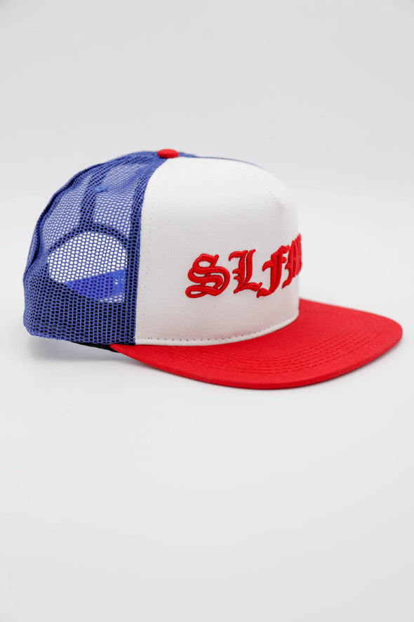SLFMD Old English Trucker - Red, White, & Blue