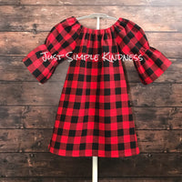 Red and Black Buffalo Plaid Flannel Dress