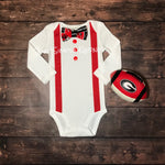 Georgia Bulldog Faux Suspender/Bow tie