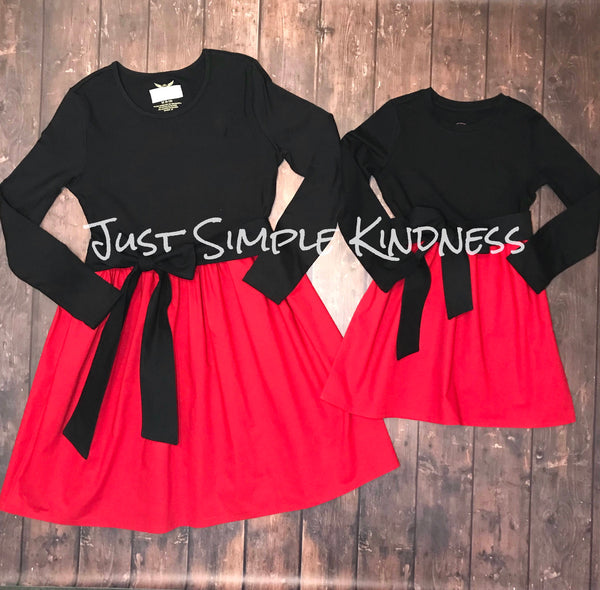 Mommy and Me Red & Black Dresses