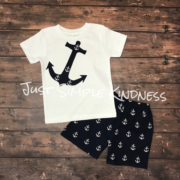 5dc4bea78459 Boys Anchor Shirt And Shorts Outfit
