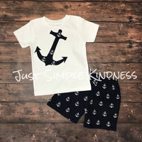 Boys Anchor Shirt And Shorts Outfit