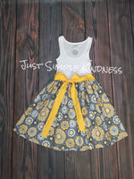 Mommy and Me Dress - Gray Yellow Floral