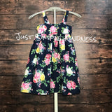 Navy meets floral dress