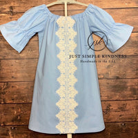 Ready to Ship - 2T - Ice Blue with Lace Dress