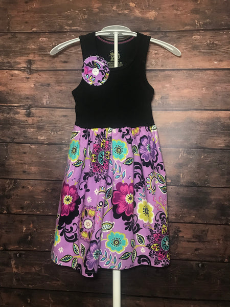 Ready to Ship - XS 4/5 Purple Floral Tank Dress