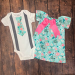 Aqua Floral Boy & Girl Outfit