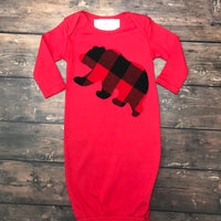 Buffalo Plaid Bear Layette Gown