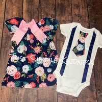 Navy Floral Boy & Girl Outfit