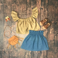 High Waisted Denim Skirt & Suede off the shoulder top