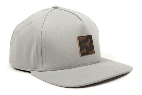 fifteen52 'Leather Patch' Five-Panel Trucker Hat - Warm Grey