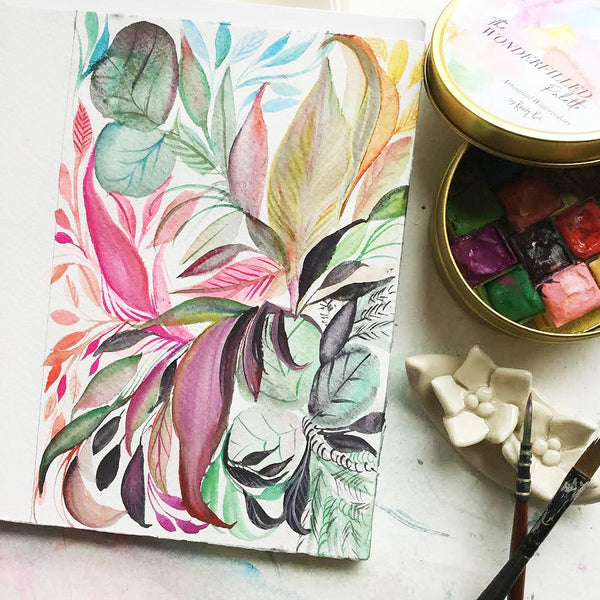 Original Watercolor - Rainbow Leaves