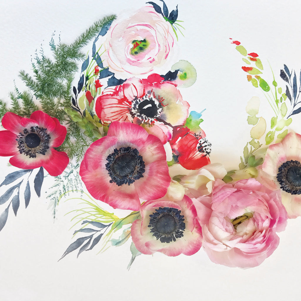 Stand By Anemone II - Watercolor Fragments Art Print