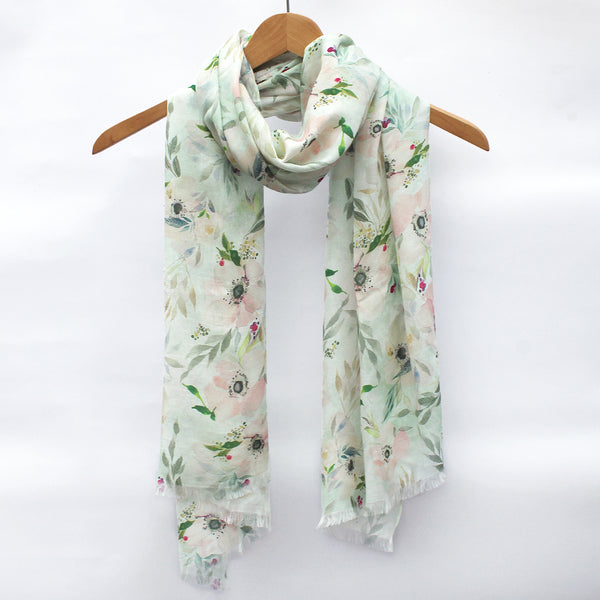 Watercolor Scarf - Anemones