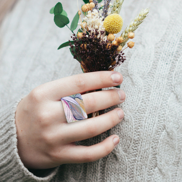 Hand Painted Wooden Ring - Leaves