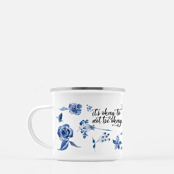 Watercolor Delft Roses Coffee Mug - It's Okay to Not Be Okay