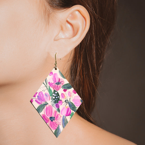 Hand Painted Wooden Diamond Earrings - Fuchsia Blooms