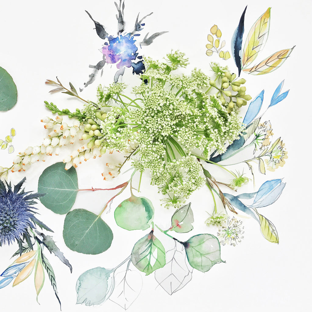 God Save the Queen Anne's Lace - Watercolor Fragments Art Print