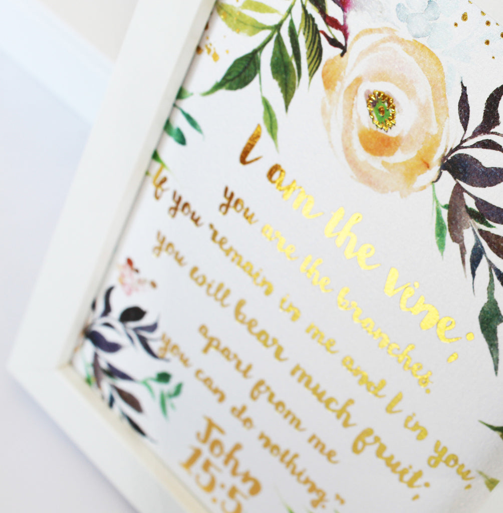 Fruits and Blooms Watercolor and Foil Scripture Art Print