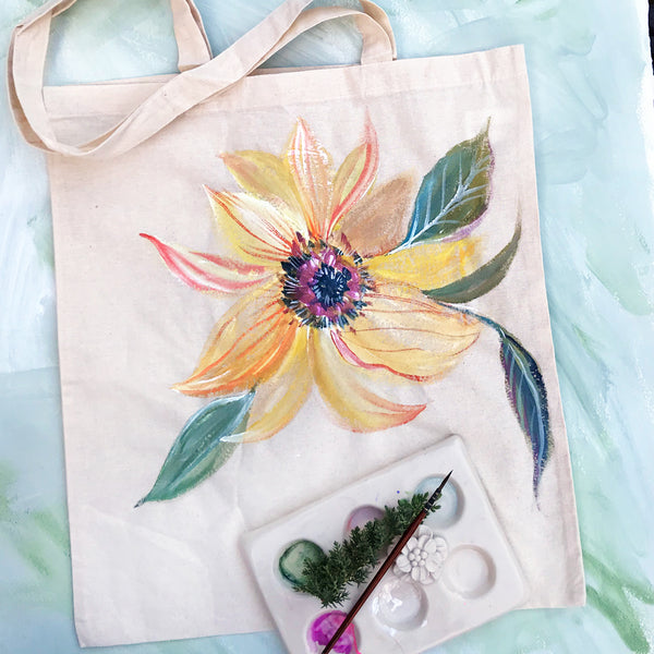Paint and Take Hand Painted Canvas Tote - Sunflower