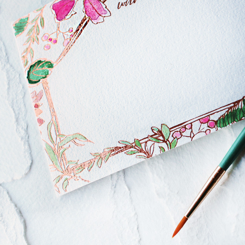 Botanical Frame Watercolor and Rose Gold Foil Flat Notes