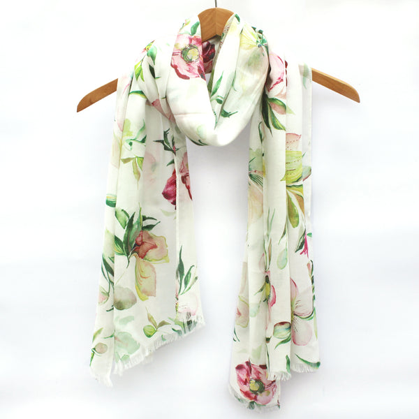 Watercolor Scarf - Hellebores