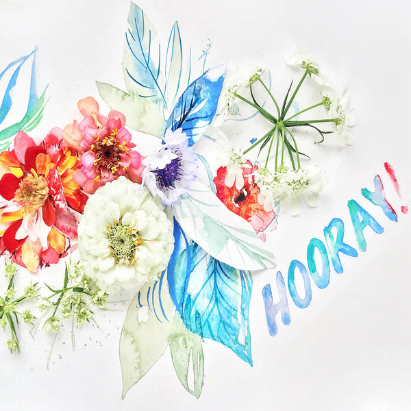 Hooray - Watercolor Fragments Art Print
