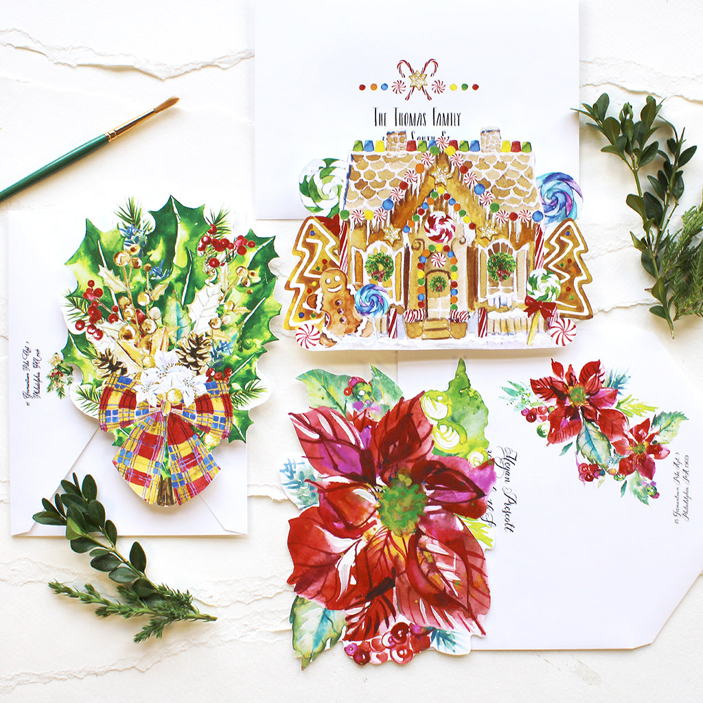 Holiday #watercolorhug Notecard Bundle - Self Mail Option