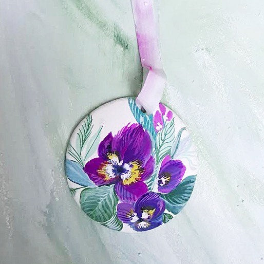 Hand Painted Ornaments - Pansies