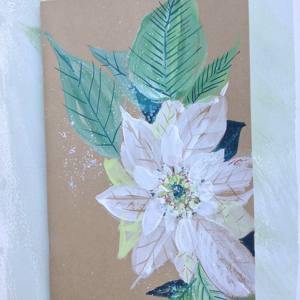 Painted Notebook - White Poinsettia