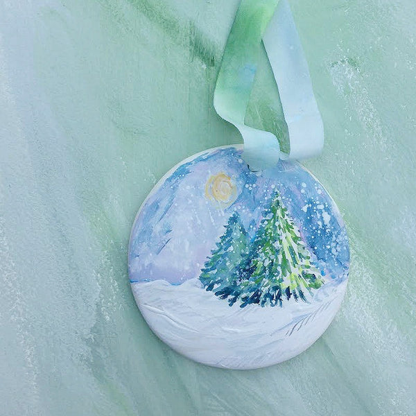 Hand Painted Ornaments - Snowy Scene