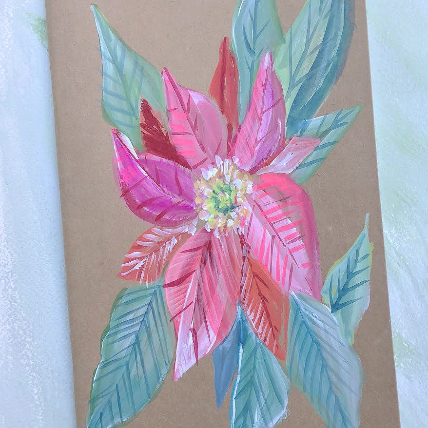 Painted Notebook - Red Poinsettia