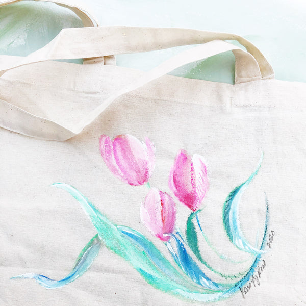 Hand Painted Canvas Tote Bag - Tulips