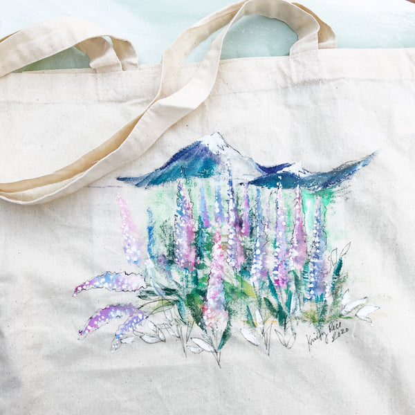 Hand Painted Canvas Tote Bag - Mountains and Lupine