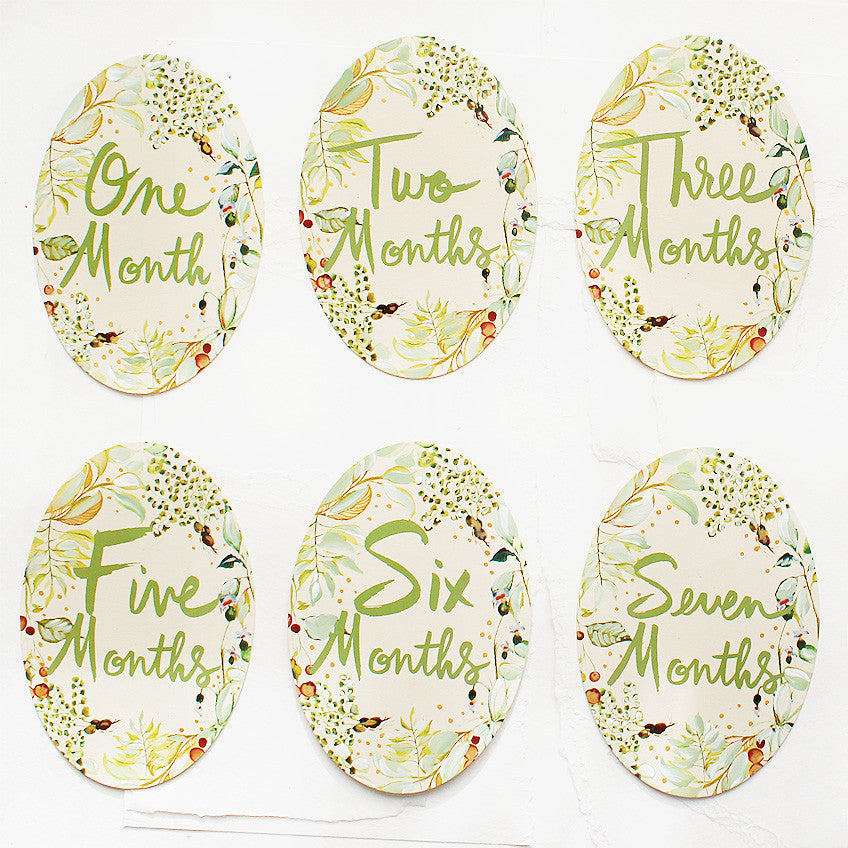 Hand Painted Watercolor Monthly Milestone Cards - Greenery