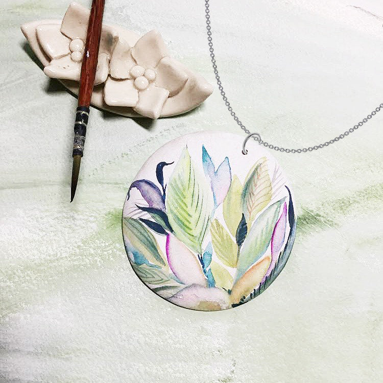 Hand Painted Wooden Pendant - Leaves